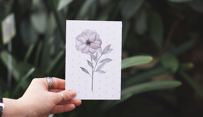 postcard with a pastel watercolor flower item thumbnail
