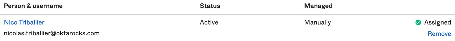 Okta Admin Console - Assigned User