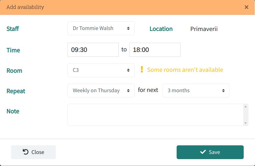 Edit staff schedule