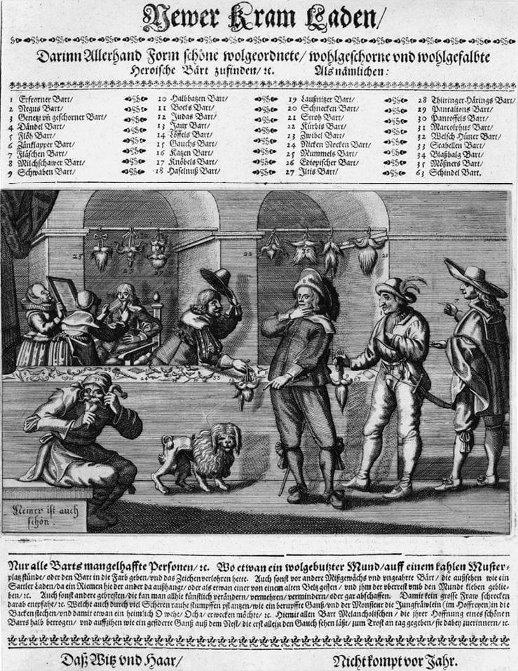 Newer Kram Laden (Новая галантерея), 1641. Накладные бороды на все случаи жизни. Источник: Сьюзан Дж. Винсент, «Волосы: иллюстрированная история»