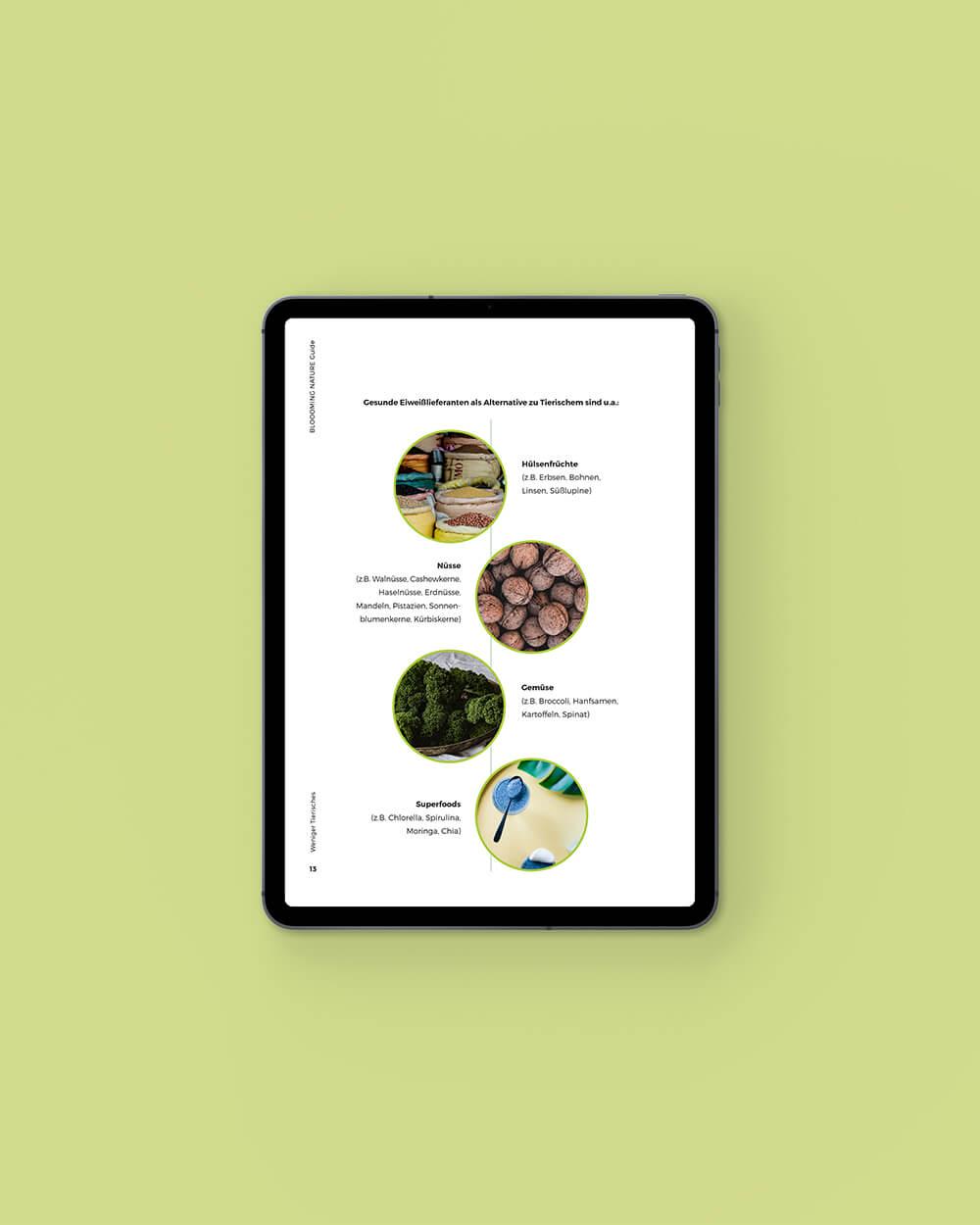 Inhaltsseite vom Bloooming Nature eBook: Übersicht Eiweißlieferanten