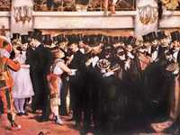 Edouard Manet's Masked Ball at the Opera was summarily rejected by the 1874 jury, who did not appreciate Manet poking fun at a high society occasion of low morals.