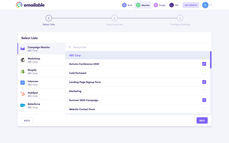 Monitor  select lists