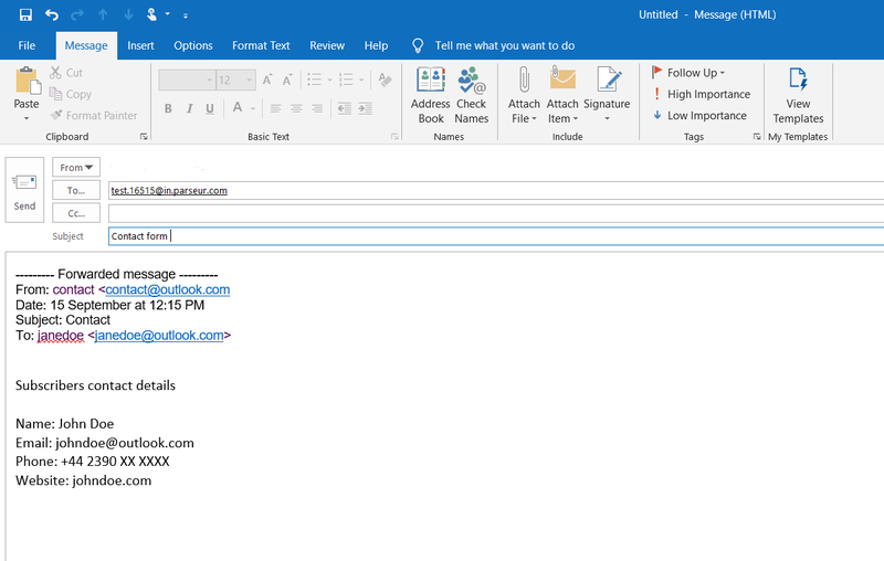 Forward your email from Outlook to the Parseur mailbox