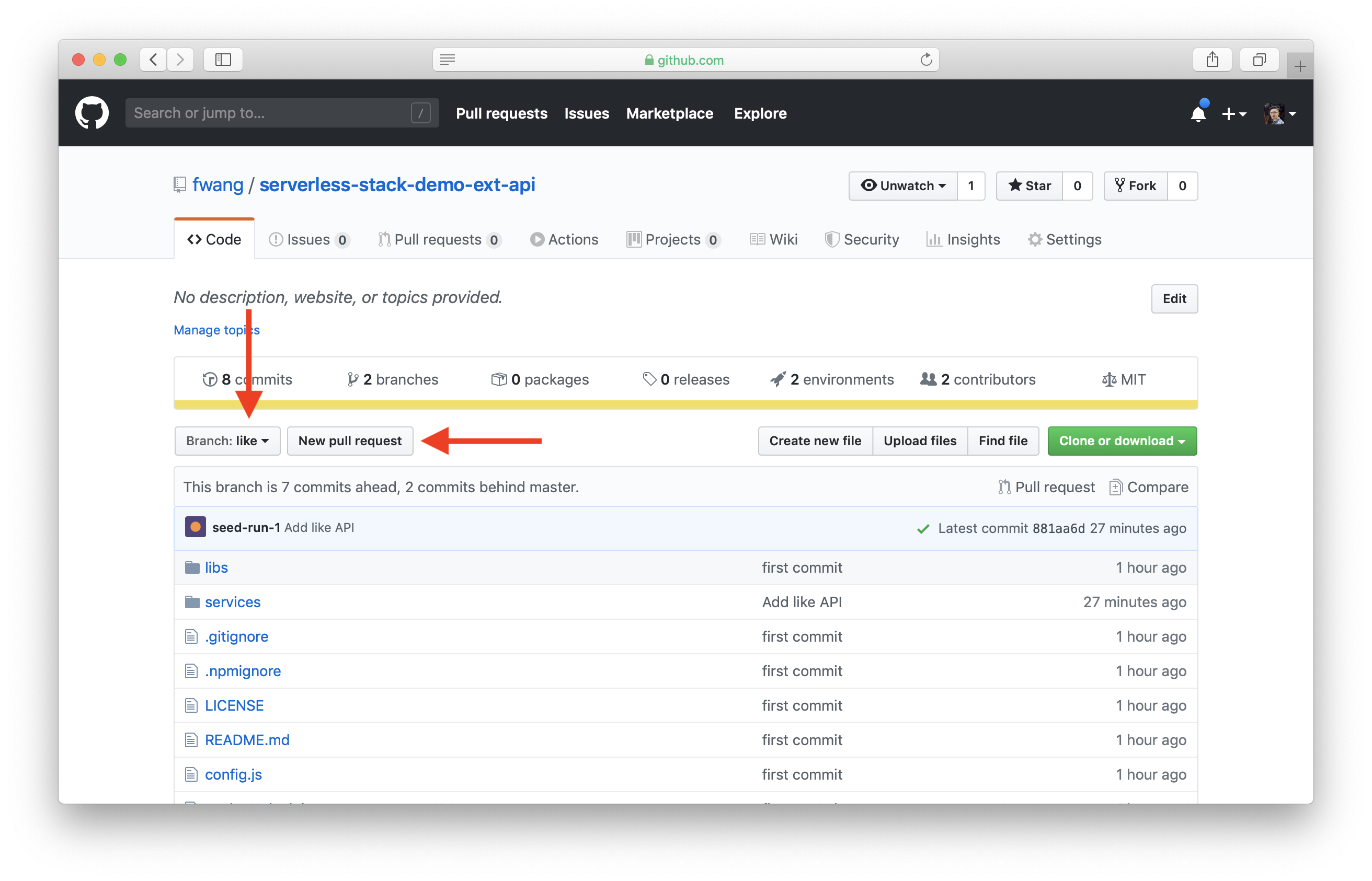 Select New pull requests in GitHub