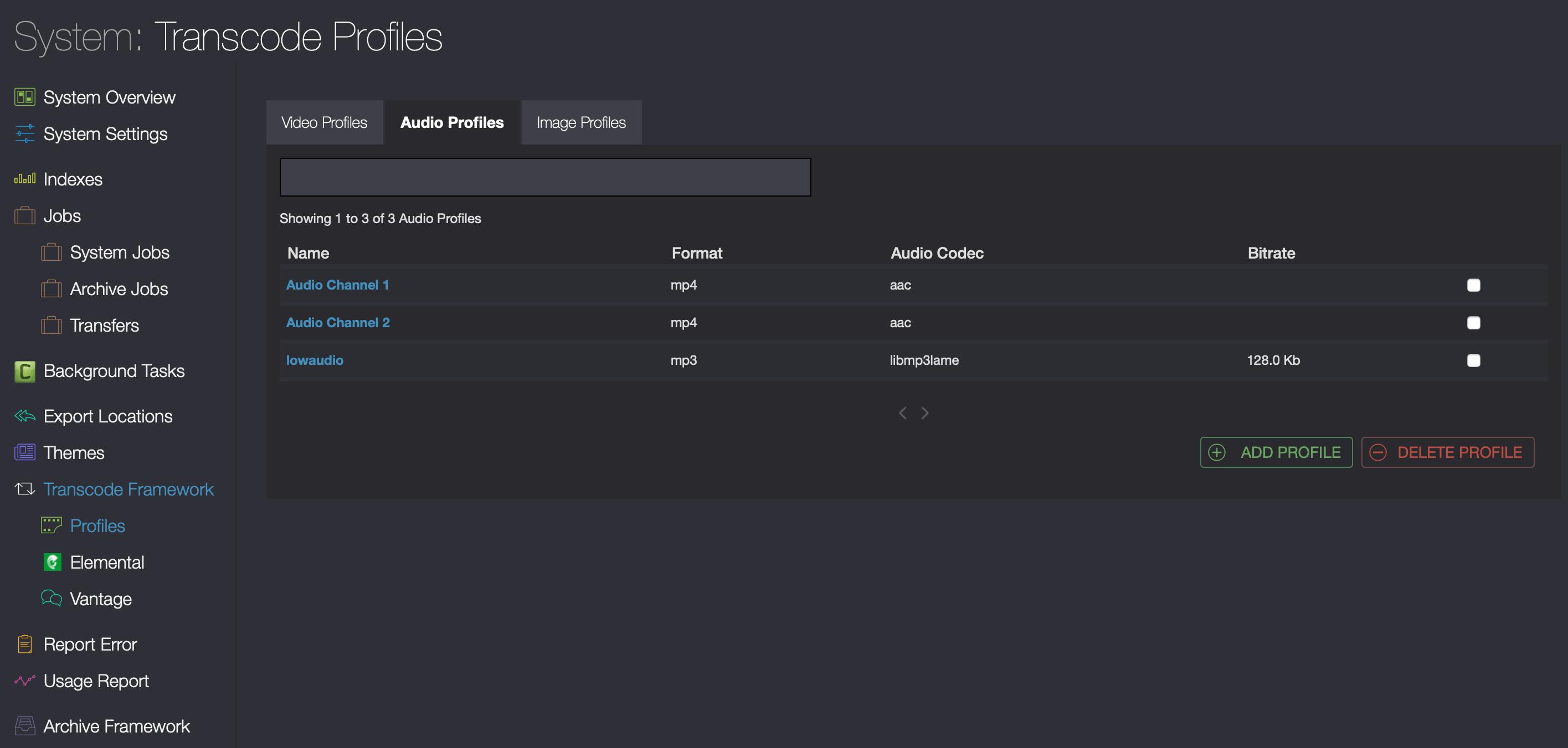 Cantemo Portal Transcode Profiles