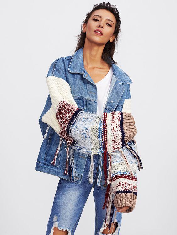 Veste en jean et laine