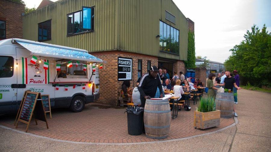 Food van outside the brewery