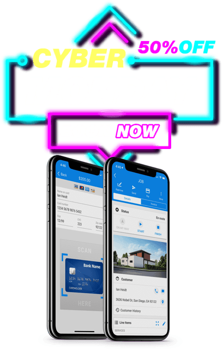 Mobile devices display app with Cyber Monday banner