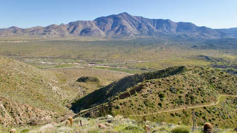 View of Scissors Crossing and Laguna Mountains