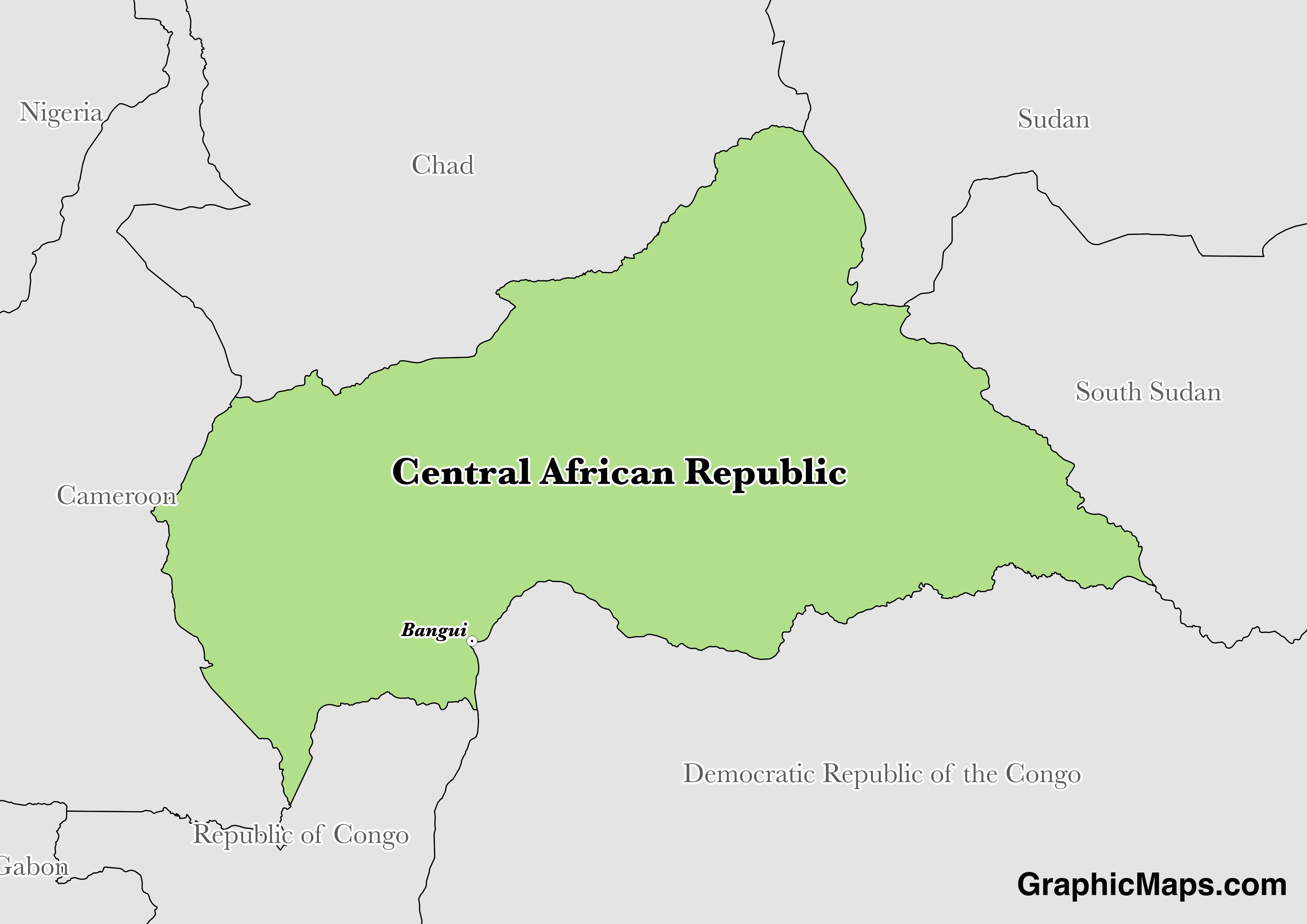 Map showing the location of Central African Republic