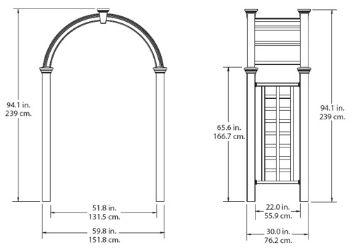 Nantucket Deluxe Arbor wireframe dimensions