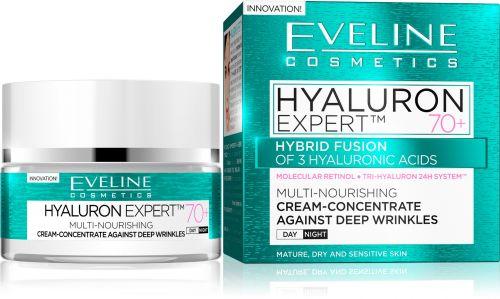 EVELINE HYALURON EXPERT™ 70+ mély ráncok elleni nappali-éjszakai tápláló krém-koncentrátum érett bőrre 50 ml
