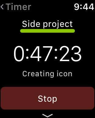 Timelines Watch app - Active time tracking