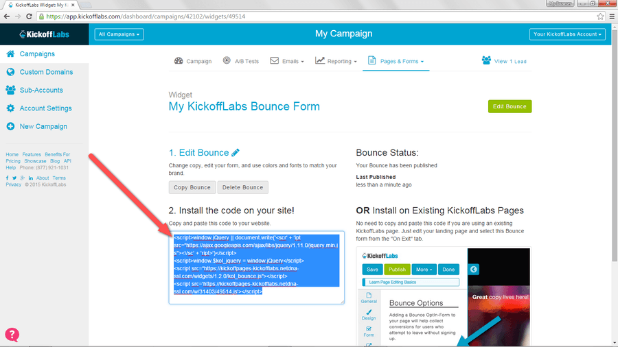 KickoffLabs_Bounce_Copy_Code