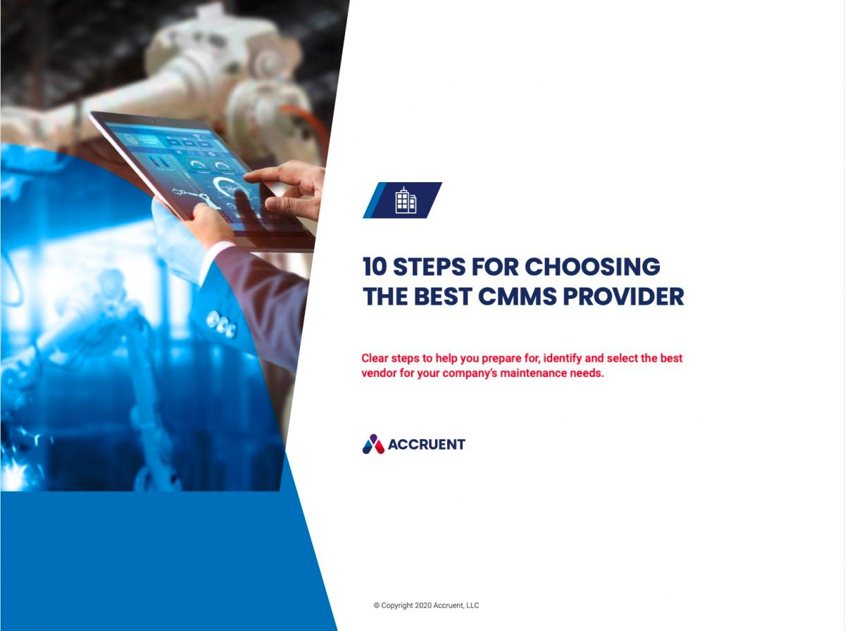 Accruent - Resources - eBooks - 10 Steps for Choosing the Best CMMS Provider - Cover Image