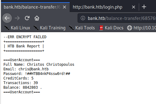 balance transfer credentials in plaintext