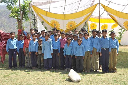 The children of village at a health camp