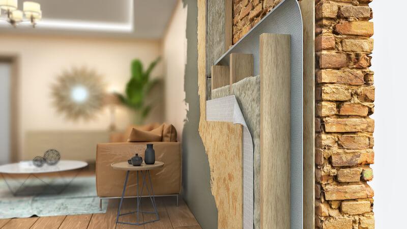Querschnitt Wand bei energetischer Sanierung
