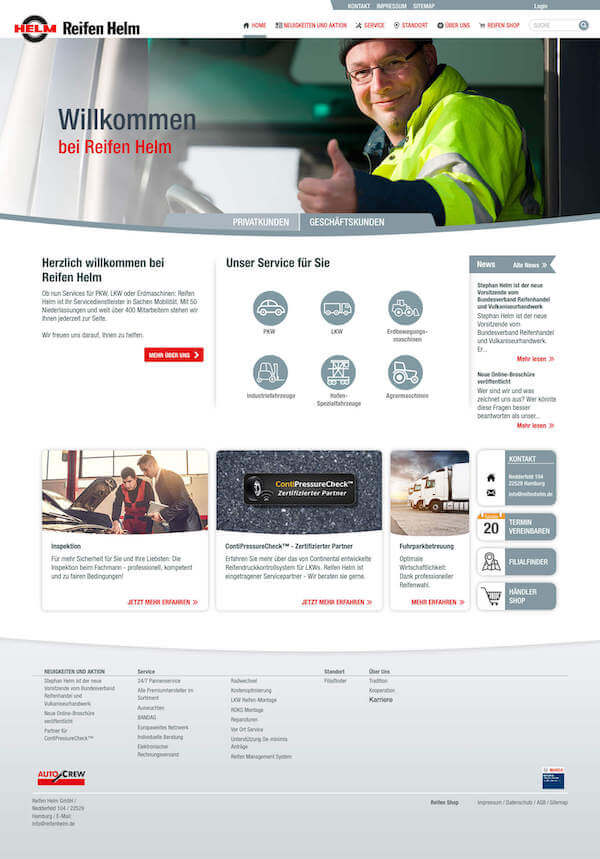 This screen shows the start page specifically for businesses