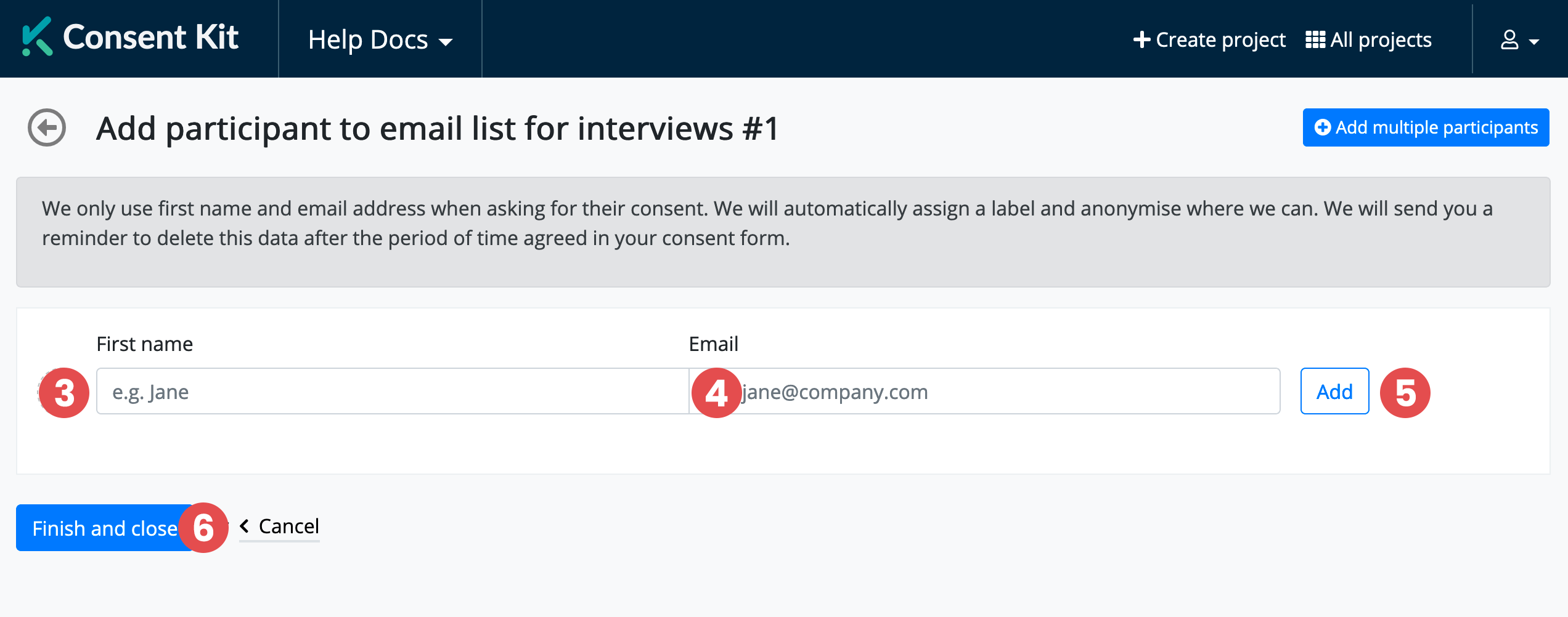 Ask by email, step 3, 4 and 5
