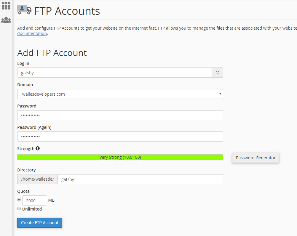 Create FTP Account - CPanel