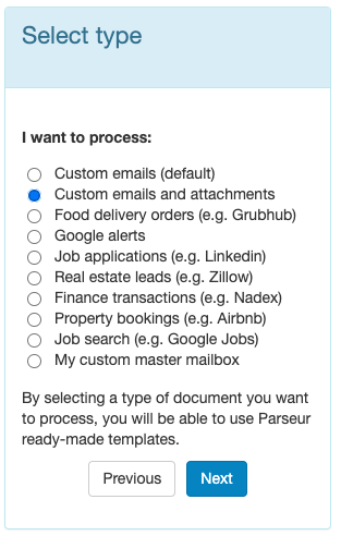 select custom emails and attachments