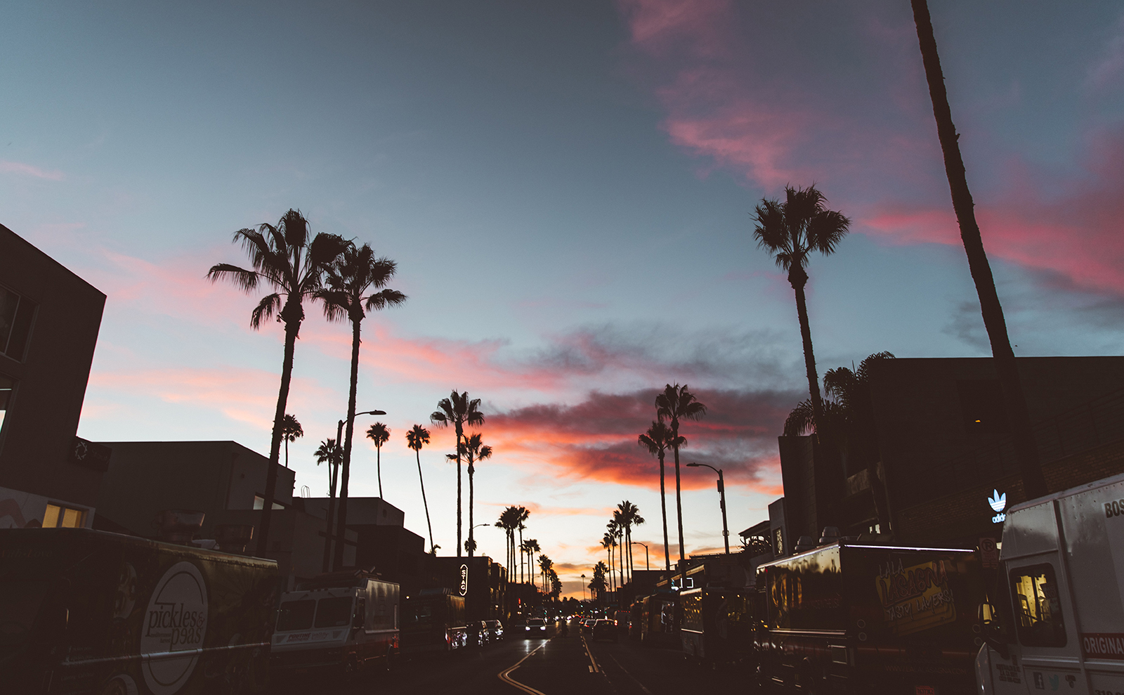 a street in Los Angeles at sunset