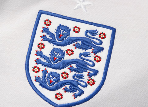 Close up of the England crest on the new 2009/11 shirt