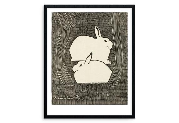 Rabbits woodcut print