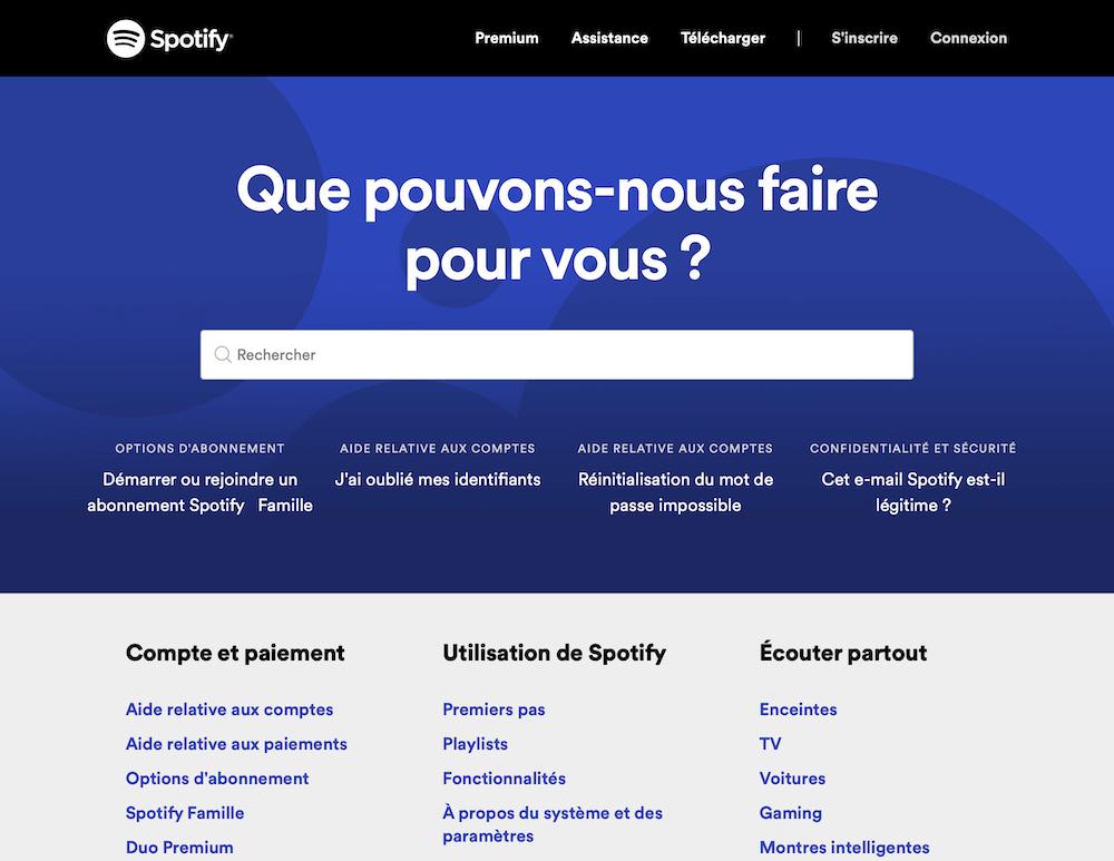 homepage de spotify