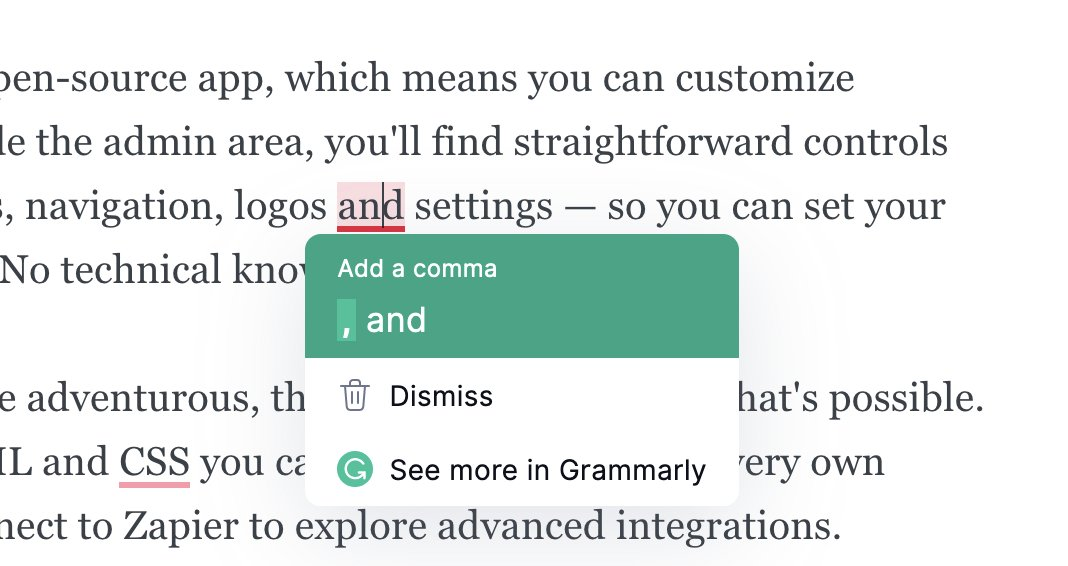 Ghost Editor Support for Grammarly