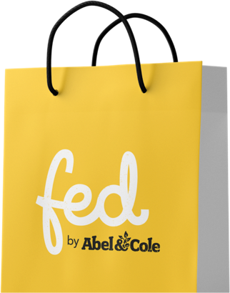 A design mockup of a Fed by Abel and Cole shopping bag the new London ecommerce platform built on Umbraco by Cogworks Umbraco Gold Partner Agency London
