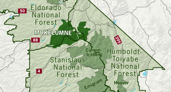 area map of Mokelumne Wilderness