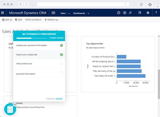 Whatfix displaying in MS Dynamics CRM tool
