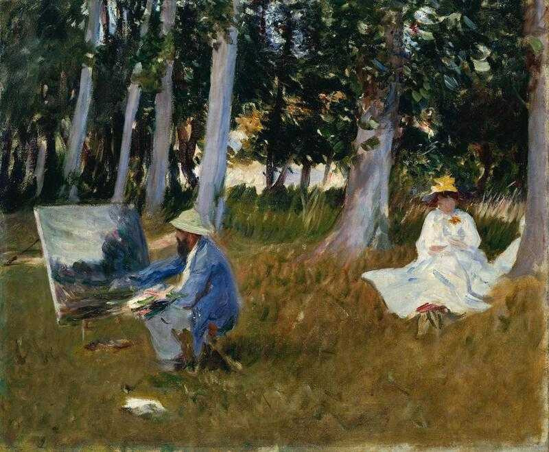 'Claude Monet Painting by the Edge of a Wood' (1885) by John Singer Sargent showing Monet painting 'en plain air'