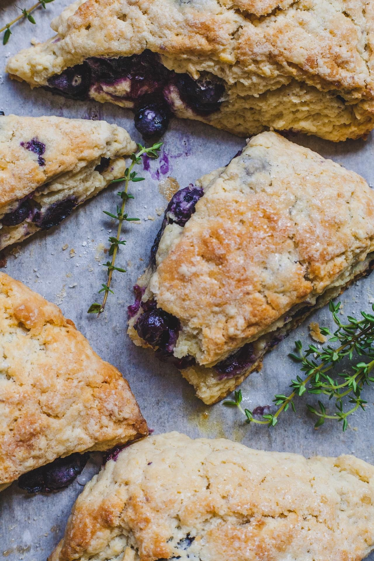 Blueberry Scones With A Thyme Glaze