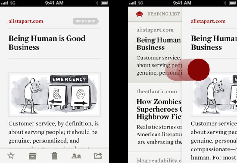 Readability swipe to go back gesture