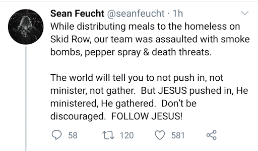Feucht's tweet claiming his cultists were 'assaulted with smoke bombs, pepper spray & death threats.'