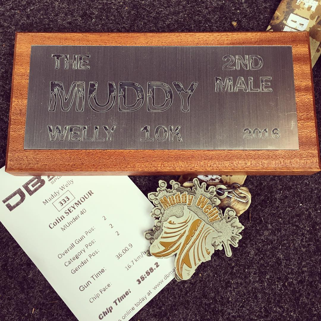 Second at the Muddly Welly 10k 2016 - Gun time: 36:00 / Chip time: 35:58