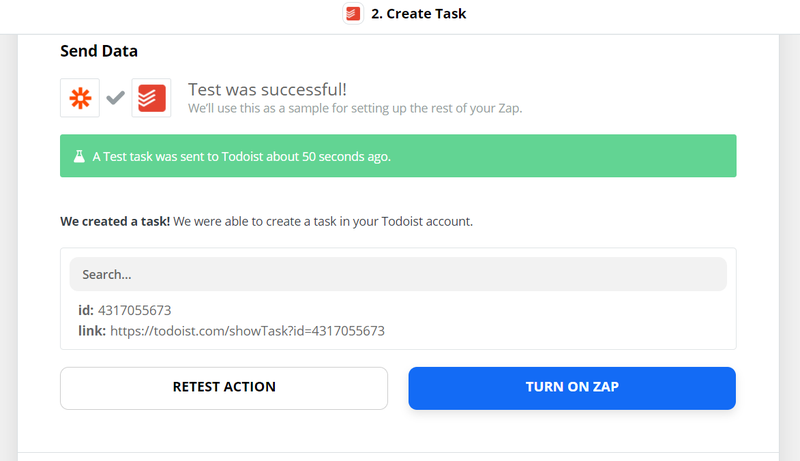 Send a test to Todoist