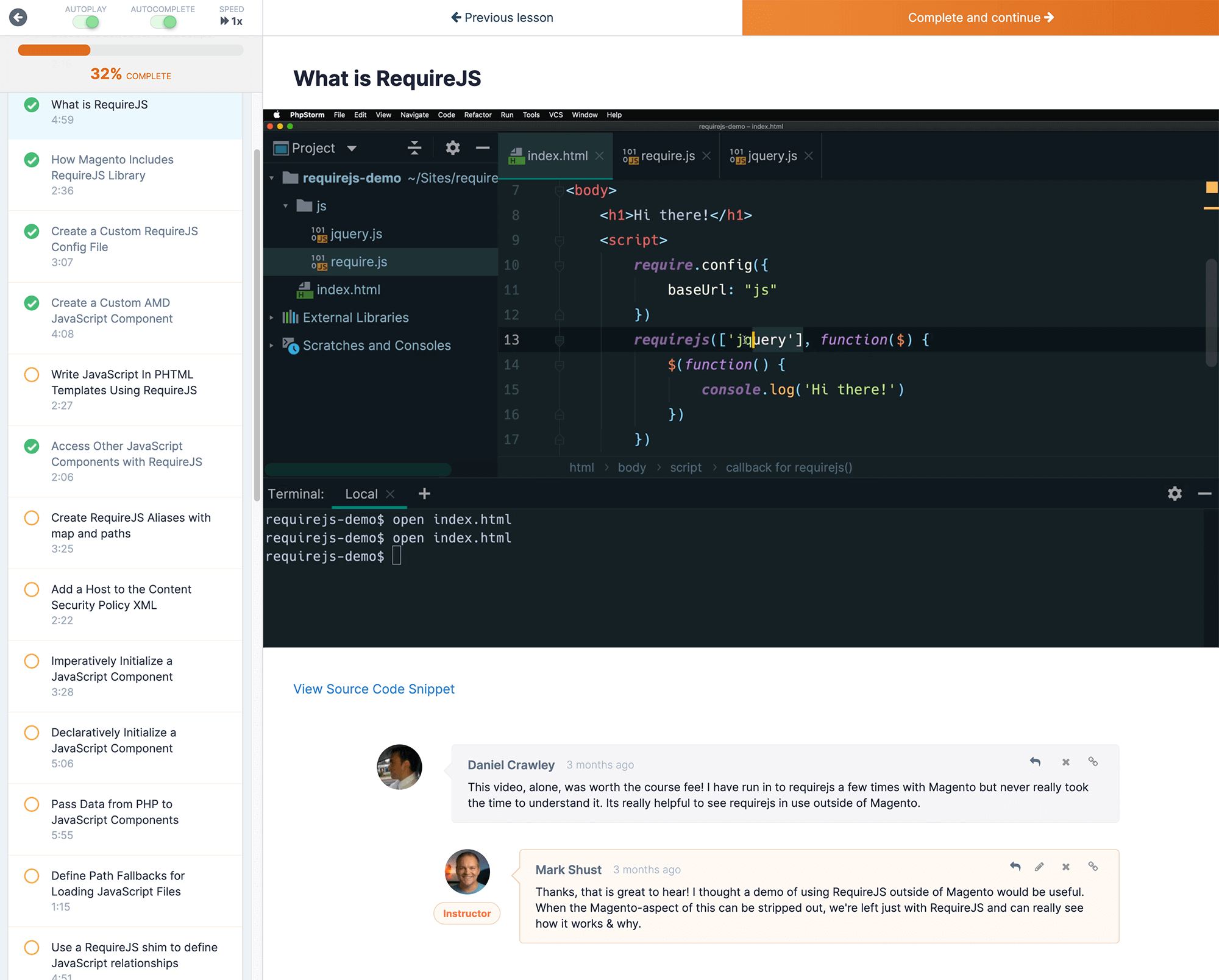 Screenshot of What is RequireJS lesson