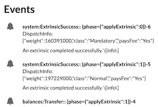 Events recorded as results from asynchronous operations
