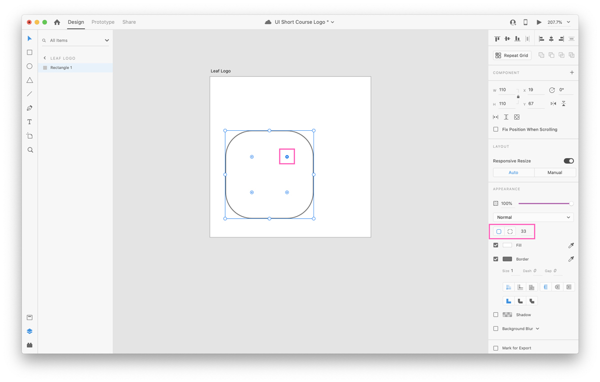 Adjusting the radius in Adobe XD