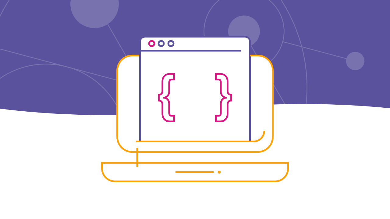 Line art of browser with curly brackets against purple background