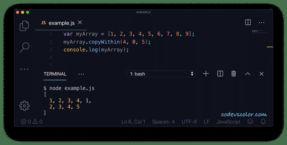 JavaScript copywithin example 1