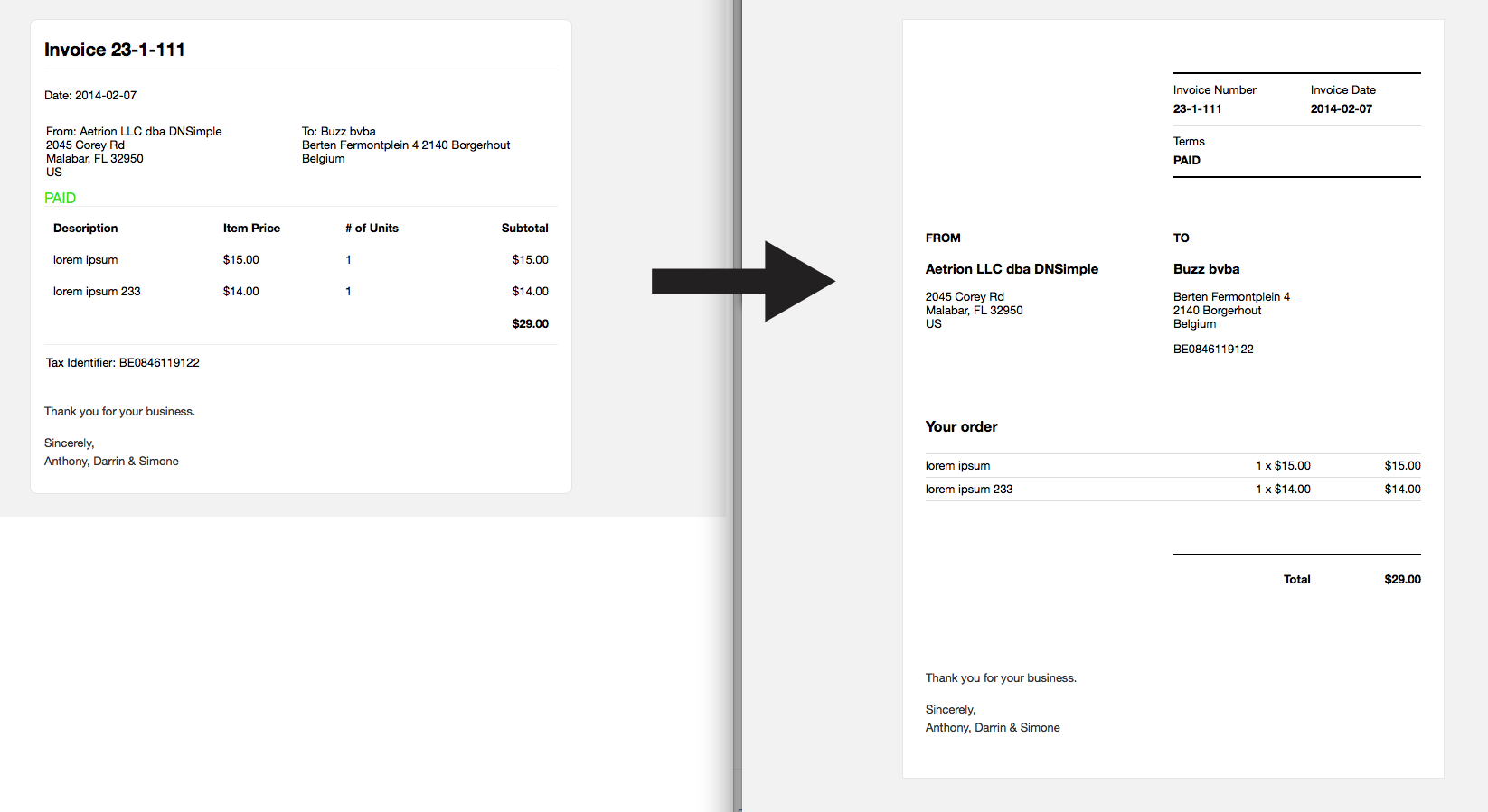 Old to new invoice mail
