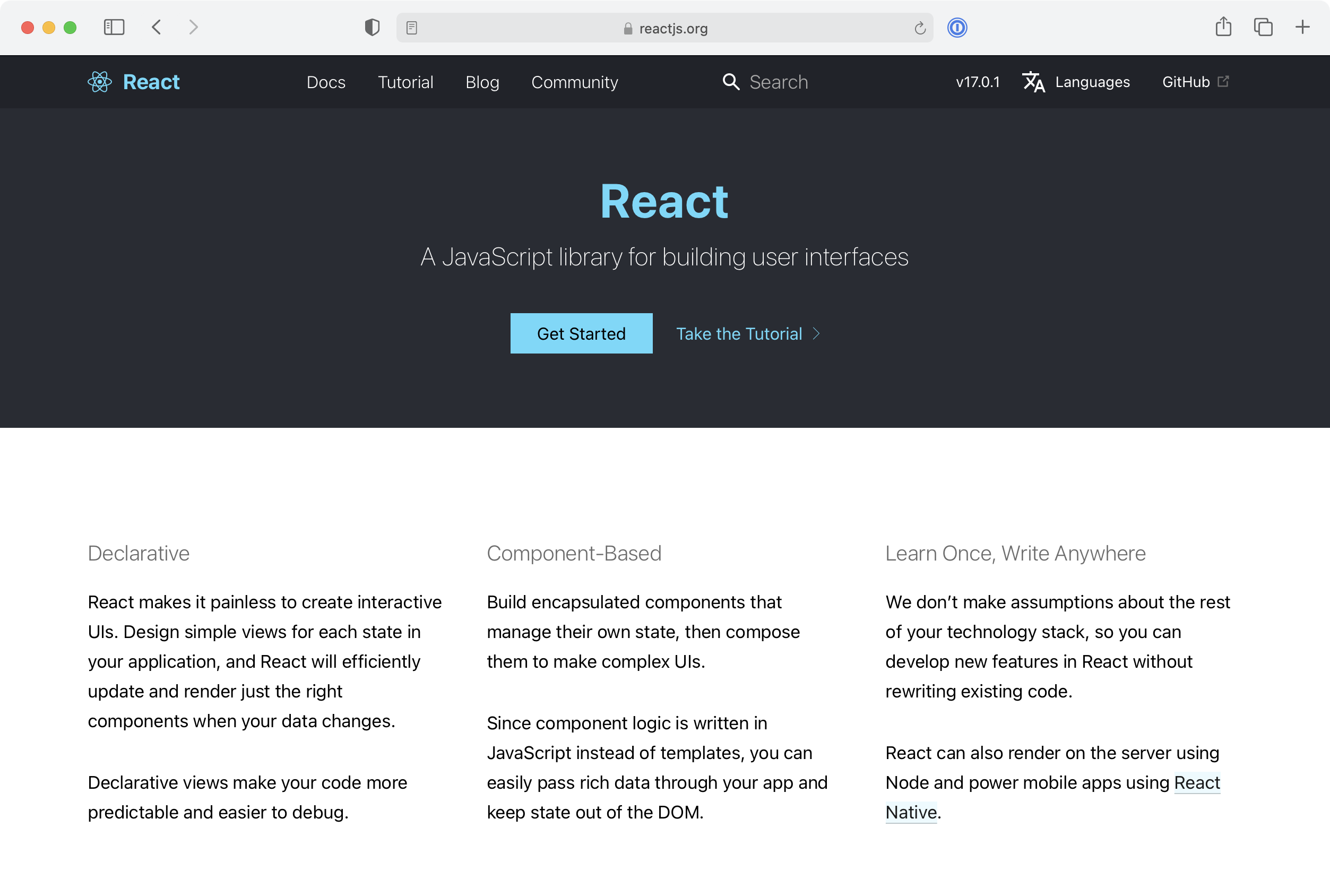 React.js home page
