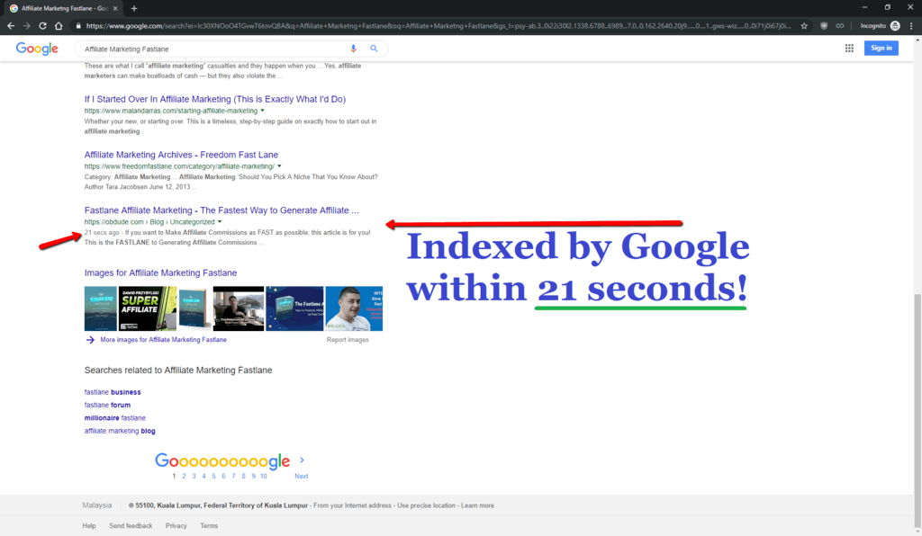 Proof - Screenshot - Indexed On Google In 21 Seconds