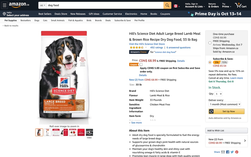 Screenshot of Amazon (Canada) offering a subscription option for dog food